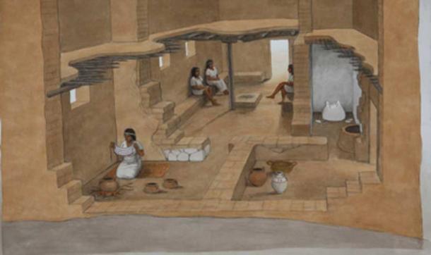 Reconstrucción de una casa filistea del siglo XII a. Artista: Balage Balogh. Cortesía de Leon Levy Expedition a Ashkelon
