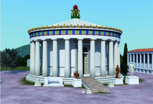 Reconstrucción de tholos del siglo IV a. C. en el Santuario de Asklepios en Epidauros. (Imagen: © 2019 J. Goodinson, asesor científico, J Svolos. Antiquity Publishers Ltd)