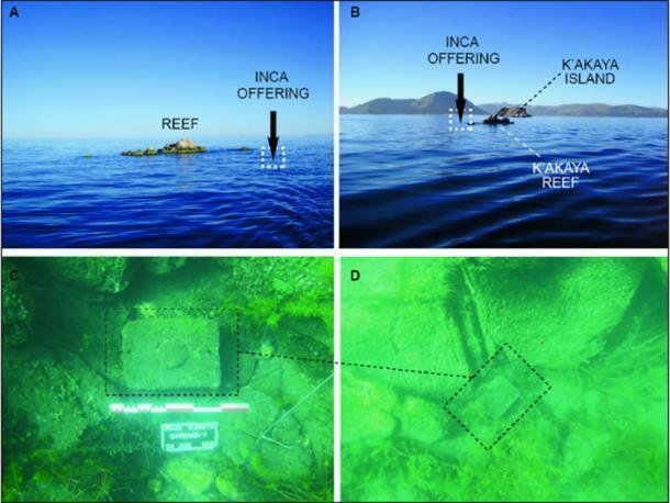 Vista del arrecife K'akaya y posición de la oferta (A) y ubicación con respecto a la isla K'akaya (B); la oferta in situ (C – D) (C. Deaere / Antiquity Publications Ltd)