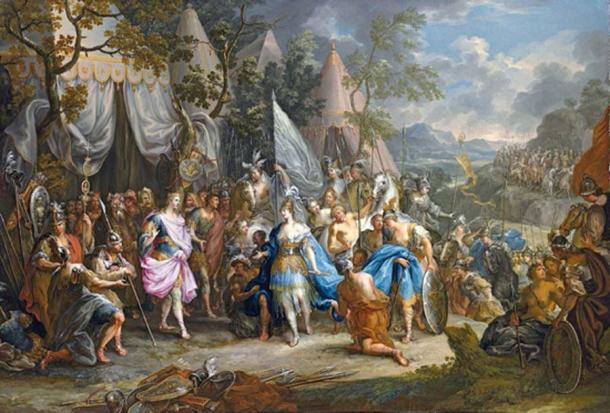 La reina guerrera amazona, Thalestris, en el campamento de Alejandro Magno. (Botaurus / Dominio público)