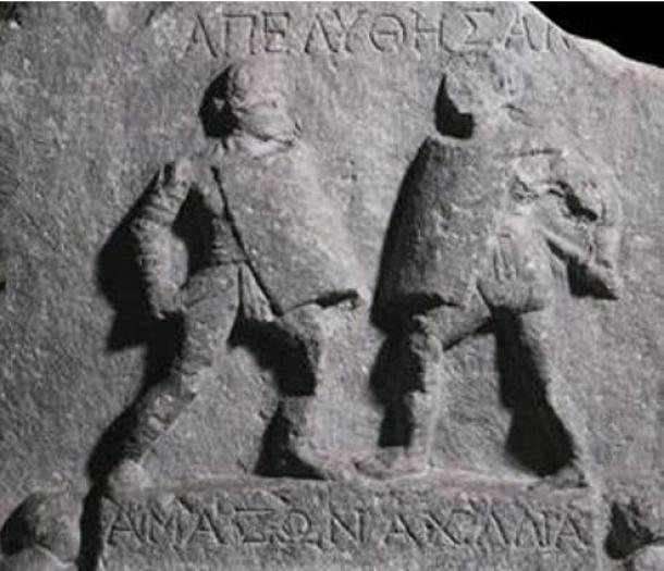 Alivio de dos gladiadoras (gladiadoras) encontradas en Halicarnaso. (Dominio público)