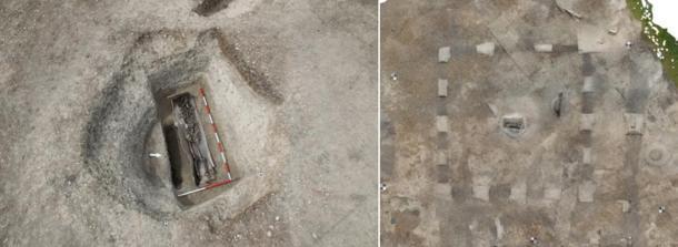 Los restos de un entierro romano se encontraron en un recinto cuadrado. El esqueleto estaba ubicado en un ataúd forrado con plomo y lo que alguna vez fue una capa exterior de madera. (HS2)