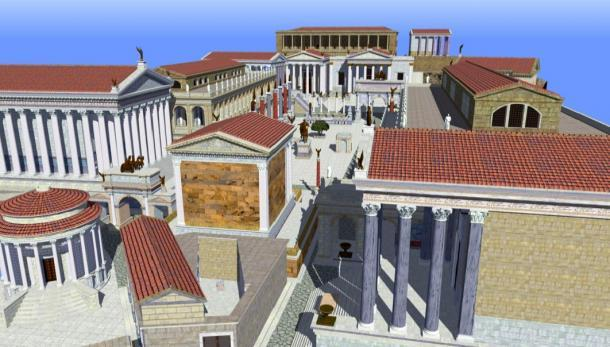 Representación del Foro Romano tal como apareció durante el Imperio Tardío. (Angerdan / CC BY-SA 3.0)