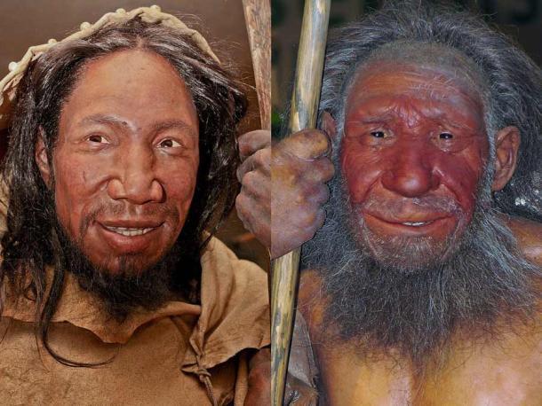Un humano moderno (izquierda) y un neandertal (derecha). Se ven bastante similares y ahora, según el último estudio, sabemos que las capacidades del habla de los neandertales no eran demasiado diferentes de las de los humanos modernos. (Daniela Hitzemann (fotografía izquierda), Stefan Scheer (fotografía derecha) / desconocido (reconstrucciones) / CC BY-SA 4.0)