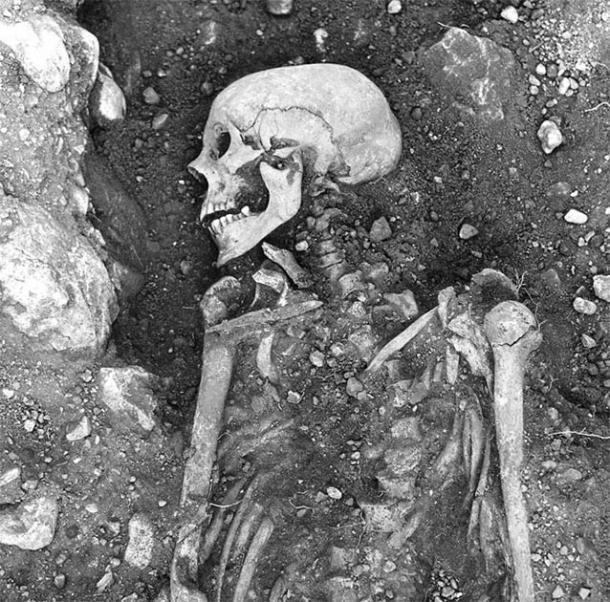 Los investigadores aislaron el ADN viral de los dientes y huesos humanos, como este esqueleto vikingo infectado con viruela de 1.200 años de antigüedad descubierto en Öland, Suecia. (La Junta del Patrimonio Nacional Sueco / Science News)