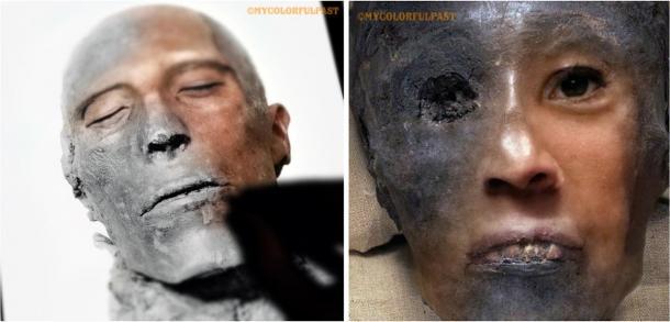 Izquierda: Restauración y trabajos de color en curso para la cara momificada de 3.307 años del faraón Menmaatre Seti I. Derecha: Cerca de dar vida a la cara de Tutankamon de 3.345 años. (Cortesía de Matt Loughrey / My Colorful Past)
