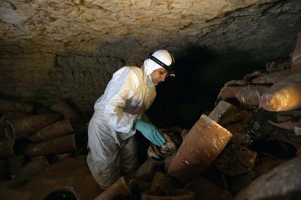 Recolectamos restos sagrados de momias de ibis de la catacumba de ibis en Saqqara. (Autor proporcionado)