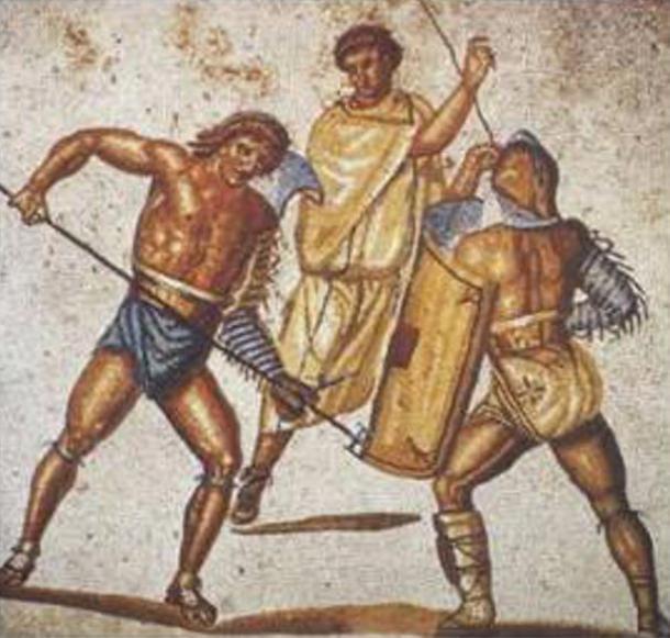 Un reciario apuñala a un secutor con su tridente en este mosaico de la villa de Nennig, Alemania, c. Siglos II-III d.C. (Dominio público)