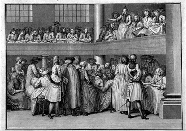 Reunión cuáquera en Londres: una mujer cuáquera predica (c.1723), grabado de Bernard Picard (1673-1733). (Dominio publico)