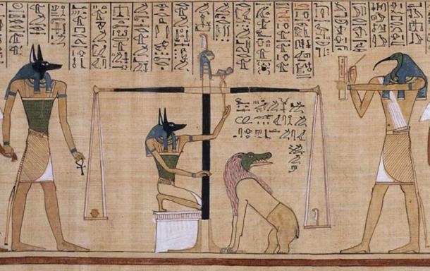 """El ritual de """"Pesaje del corazón"""", que se muestra en el Libro de los Muertos. (Alonso de Mendoza / Dominio público)"""