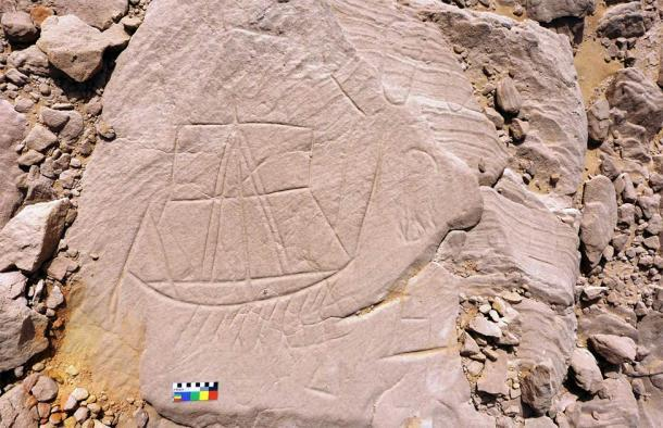 Una talla de roca encontrada en los desiertos egipcios por investigadores polacos. (P. Polkowski / Ciencia en Polonia)