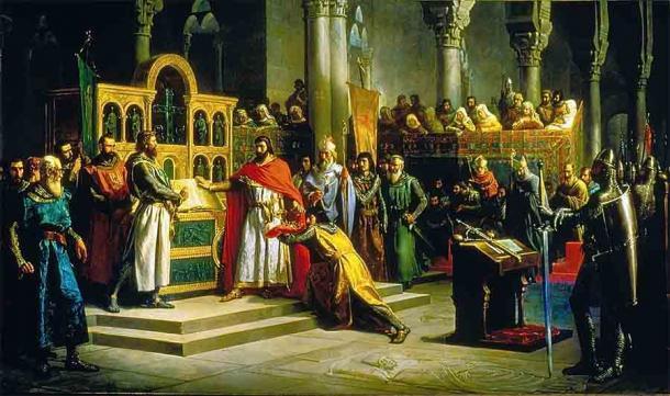 El famoso Juramento de Santa Gadea, donde Alfonso VI (visto aquí con una capa roja) juró sobre la Biblia que no estaba involucrado en el asesinato de su hermano Sancho II, con El Cid como testigo. (Dominio público)