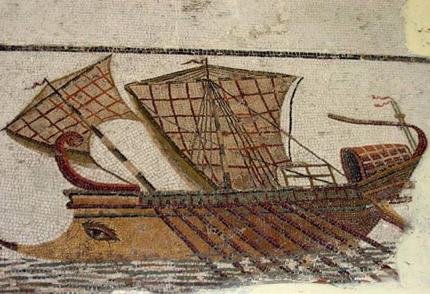 Trirreme romano sobre el mosaico en tunez. (Mathiasrex / CC BY SA 3.0)