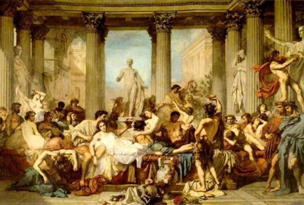 'Los romanos de la decadencia' (1847) de Thomas Couture. (Dominio público) Finalmente, la fiesta tuvo que terminar.