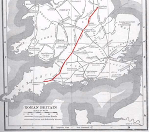 Ruta del Camino Fosse, la calzada romana en la que se encuentra el fuerte romano recién descubierto. (Carlog3 / Dominio público)