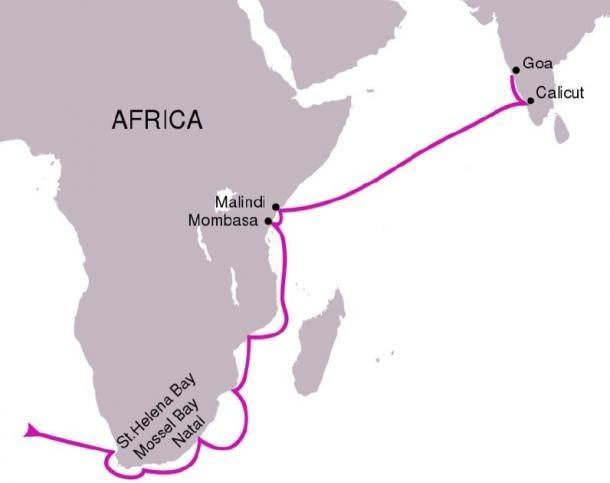 La ruta siguió en el primer viaje de Vasco da Gama, 1497-1499. (PhiLip / CC BY-SA 4.0)