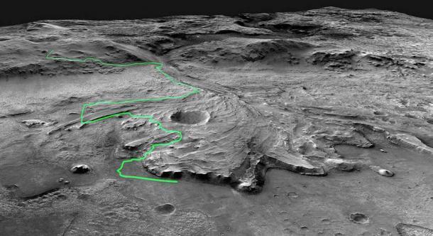 Posible ruta planeada para el rover Perseverance mientras explora el cráter Jezero en el planeta Marte. (JPL-Caltech / NASA)