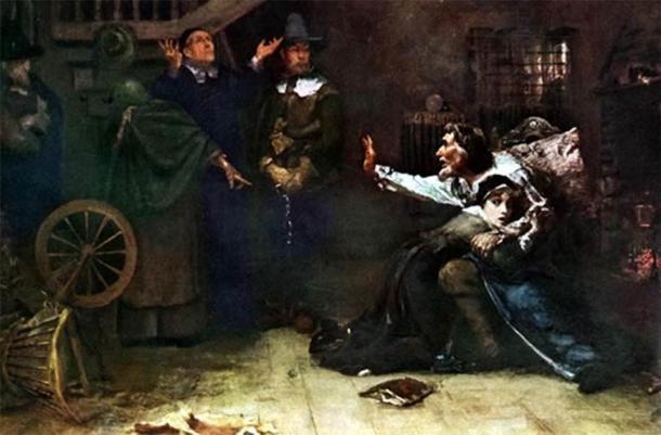 """Los juicios de brujas de Salem en 1692 fueron una catástrofe moral que se apoderó de la colonia inglesa de Massachusetts, como se muestra en la pintura al óleo titulada """"Acusado de brujería"""" por Douglas Volk. (Dominio público)"""