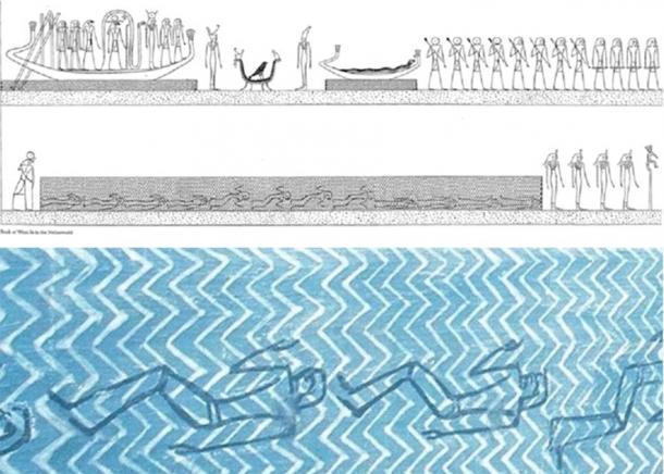 Arriba: escena de la tumba KV-35, Amenhotep II, Amduat, décima hora; mostrando hombres ahogados en el agua, similar al ahogamiento del éxodo. Estos son hombres inocentes a los que se les negó un entierro regular y que Horus resucitará de ahogarse. Abajo: primer plano del mismo panel, que muestra a los soldados ahogados bajo el agua, en las aguas de Nun, muertos pero que serán revividos más tarde. (Piankoff y Rambova, 1954)