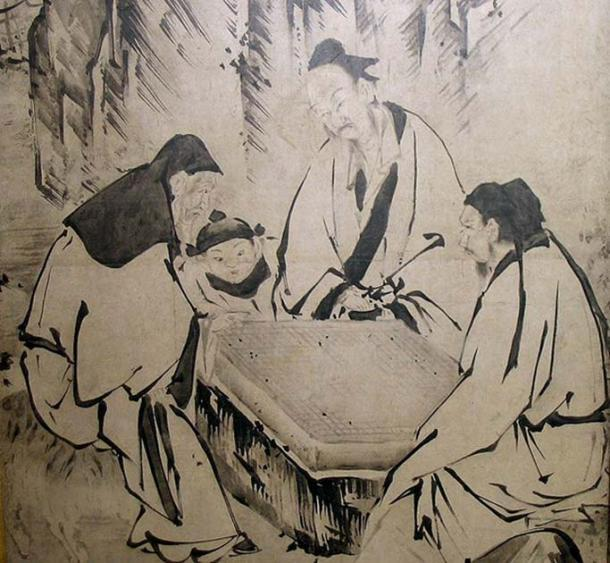 Una pintura de pantalla que representa a personas de la dinastía Ming jugando Go, de Kanō Eitoku. (Dominio publico)