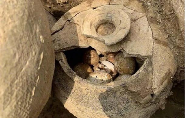 Se encontró una olla de huevos en una tumba en la aldea de Shangyang, Liyang, China. (jschina.com.cn)
