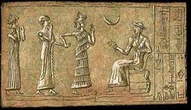 Sello del sumo sacerdote del dios de la luna Sin, que data del 2100 a.C. La devoción de Nabonido por Sin era muy inusual, ya que Marduk había sido el dios principal de Babilonia durante varios siglos. Fuente de la imagen: New World Encylopedia