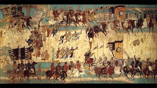 Sección del mural que representa la victoria del general Tang Zhang Yichao sobre los tibetanos en Dunhuang. (Dominio público)