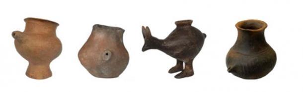 Selección de vasos de alimentación de la Edad del Bronce Tardío. Los buques son de Viena, Oberleis, Vösendorf y Franzhausen-Kokoron (de izquierda a derecha), datados alrededor de 1200 a 800 a. C. (Katharina Rebay-Salisbury / Nature)