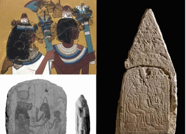 Una selección de representaciones de cabeza de conos en el arte egipcio antiguo de Amarna (imágenes de la Sociedad de Exploración de Egipto a través de Antiquity Publications Ltd)