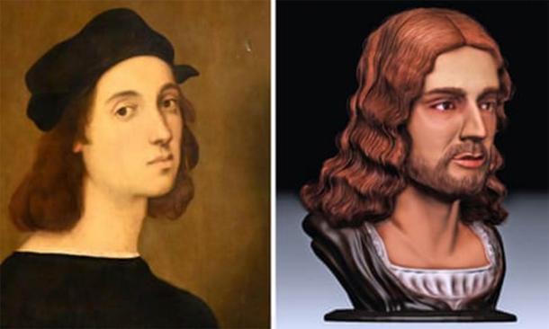 Autorretrato de Rafael (Dominio público) comparado con la nueva reconstrucción facial. (Universidad Tor Vergata)