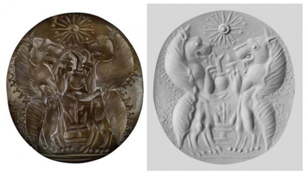 En una de las dos tumbas de la familia, los arqueólogos de la UC encontraron una piedra de sello de cornalina con dos criaturas mitológicas llamadas genios con vasos de servicio e incienso sobre un altar. (UC Classics)