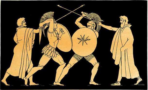 Héctor y Ajax están separados por Talthybius, un heraldo griego, e Idaeus, un heraldo troyano. (Dominio público)
