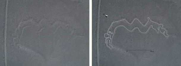 Geoglifo de serpiente de dos cabezas, aproximadamente 98 pies (30 metros) de largo. (Universidad de Yamagata)