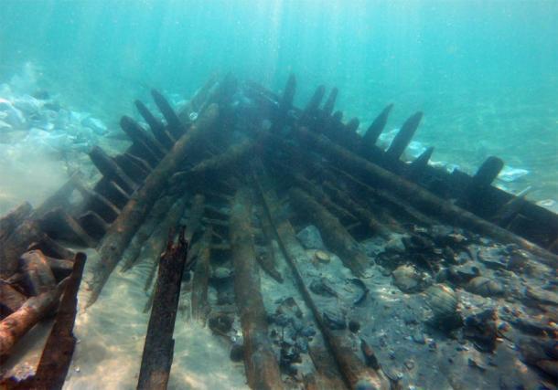 Parte del naufragio israelí que data del siglo VII d. C. (A. Yurman)