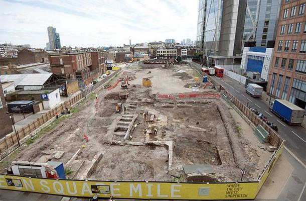 El sitio de excavación Shoreditch, Principal Place, Londres. (MOLA)