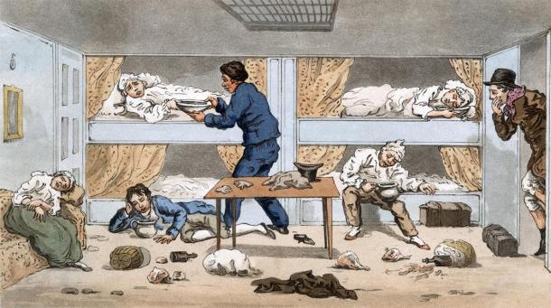 Personas enfermas a bordo de un barco. Crédito: Archivist / Adobe Stock