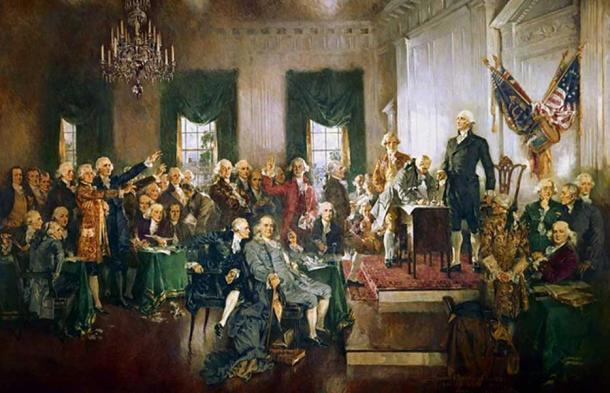 Escena de la firma de la Constitución de los Estados Unidos (1940) de Howard Chandler Christy. (Dominio público)