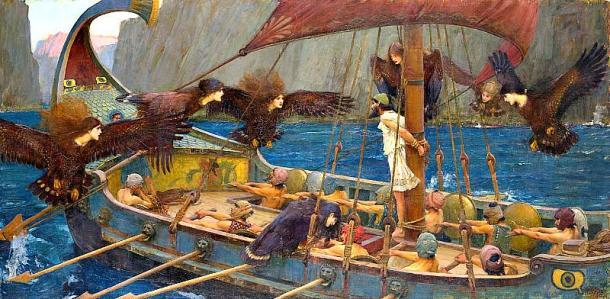 'Ulises y las sirenas', óleo pintado en 1891 por John William Waterhouse. Ulises (Odiseo) se encuentra atado al mástil, mientras su tripulación se ha tapado los oídos con cera para protegerse del seductor canto de las sirenas (Dominio público)