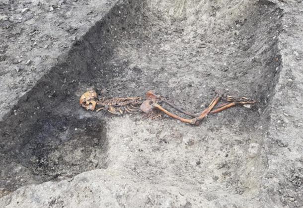 Se encontró el esqueleto de una víctima de asesinato de la Edad del Hierro mientras excavaban un sitio arqueológico en la Granja Wellwick, cerca de Wendover. (HS2)