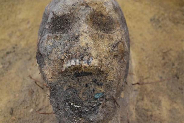 Algunos de los esqueletos de los niños tenían monedas en la boca (Arkadia Firma Archeologiczna)