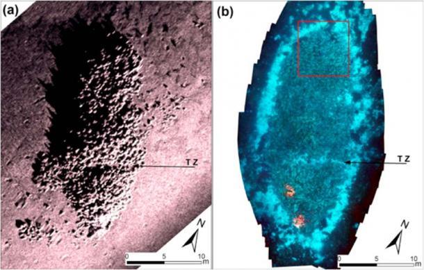 Imagen del sonar del fondo marino de alta resolución que muestra: el contorno de la carga del naufragio romano y ánforas individuales que yacen en un fondo marino de arena fangosa. (Acuario jónico)