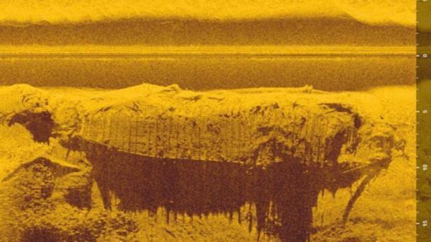 Imagen de sonda del barco centenario descubierto en el río Vístula en Polonia. (A. Szerszeń/ Podwodne wraki Warszawy)