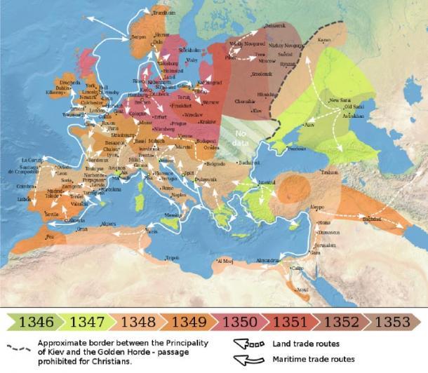 Difusión de la Peste Negra en Europa y el Cercano Oriente de 1346 a 1353. (Flappiefh / CC BY-SA 4.0)