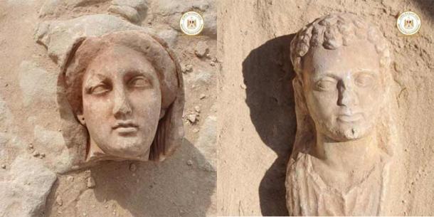 Dos de las estatuas bien conservadas descubiertas recientemente, se cree que representan a algunos de los individuos importantes enterrados en el templo de Taposiris Magna. (Ministerio de Turismo y Antigüedades de Egipto)