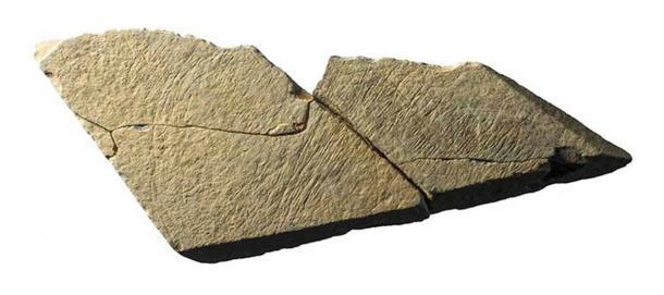 Otra losa de piedra que muestra las características líneas geométricas de los magdalenienses. (Museo de Historia Natural)