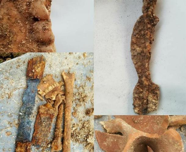 Parte de la espada, restos óseos y la vasija de barro encontrada en la tumba del guerrero parto. (Tehran Times)