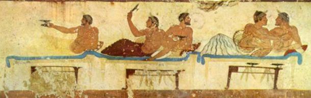 Simposio, Fresco de la Tumba del Buceador. 475 a. C. ( Dominio público )