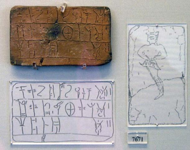 Tableta micénica (MY Oe 106) escrita en B lineal proveniente de la Casa del Comerciante de Petróleo. La tableta registra una cantidad de lana que debe teñirse. La figura masculina está retratada en el reverso. Museo Arqueológico Nacional de Atenas, n. 7671. (CC BY SA 3.0)