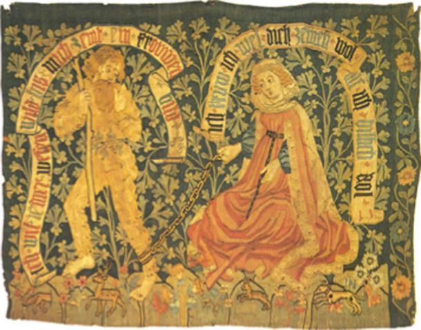Tapiz de finales del siglo XV que muestra a un hombre salvaje y salvaje, siendo domesticado por una dama virtuosa. (Cherubino / Dominio público)