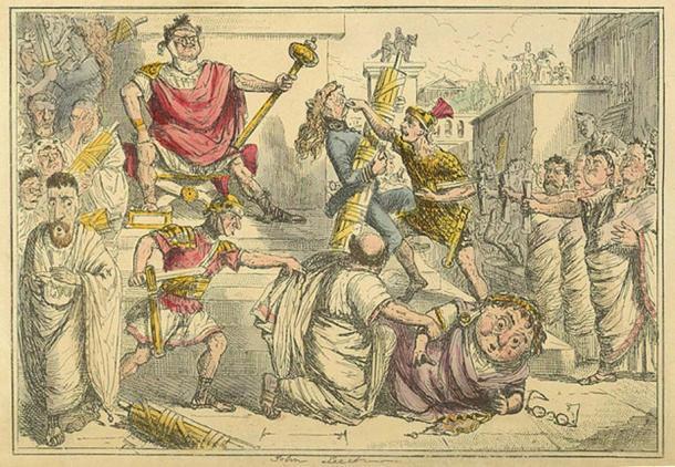 Tarquinius Superbus se hace rey; de La historia cómica de Roma de Gilbert Abbott à Beckett (Posner / Public Domain)